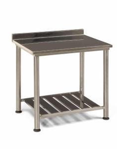 tavolo d'acciaio con spondina